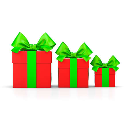 set of gift box isolated for Christmas and  New Years Day , group three red green gifts boxes ribbon white background 3d rendering