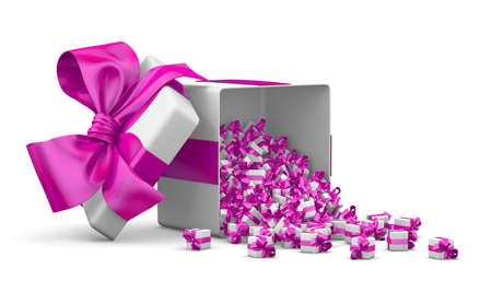 a lot of pink gift box for Merry Christmas, New Years Day , valentines day ,Open Gifts boxes emitting little gifts many boxes ribbon ,3d rendering