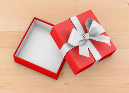 Open red gift box ribbon top view wood table background for Christmas and New Years Day 3d rendering