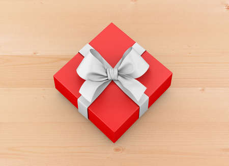 red gift box ribbon top view wood table background for Christmas and New Years Day 3d rendering