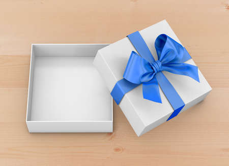 table wood: Open blue gift box top view for Christmas and  New Years Day on table wood background 3d rendering Stock Photo