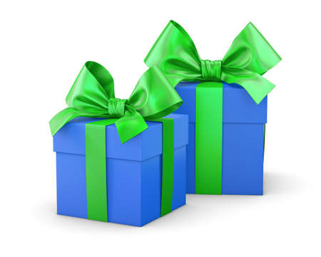 gift boxes green blue for Christmas and New Years Day white background isolate 3d rendering Stock Photo