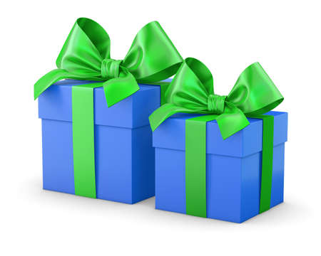 new years day: gift boxes green blue for Christmas and New Years Day white background isolate 3d rendering Stock Photo