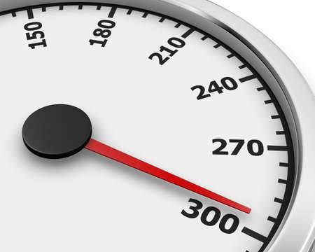 Speedometer with moving arrow 3d rendering