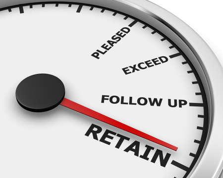 retention: Increase Retention Meet Needs Exceed Expectations Speedometer 3d rendering