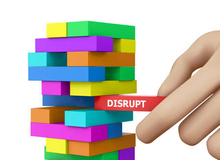 Planning, disruption and strategy in business, businessman gambling placing wooden block on a tower 3d rendering Stock Photo