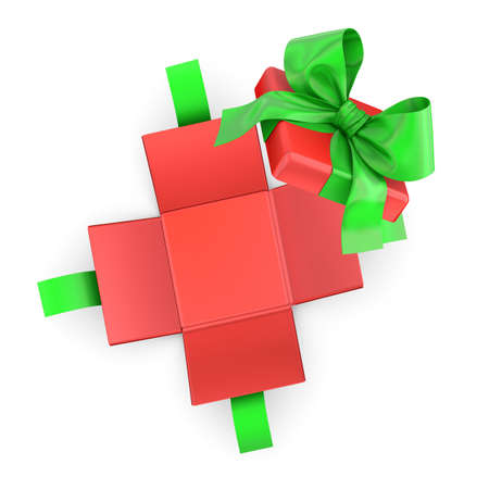 gfit for Christmas, New Years Day ,Open red green gift box white background top view 3d rendering Stock Photo