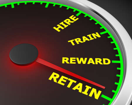 hiring practices: Hire Train Reward Retain words on a speedometer to illustrate human resources best practices processes for new employees 3d rendering
