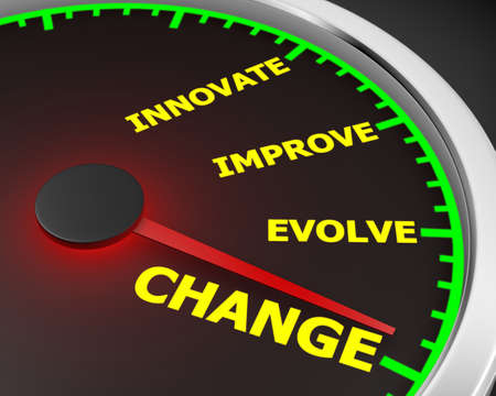 surviving: Change Innovate Improve Involve Speedometer 3d Illustration rendering Stock Photo
