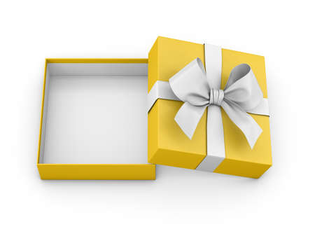 open yellow gift box ribbon top view white background for Christmas and New Years Day 3d rendering