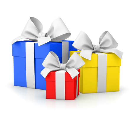 set of gift box colorful isolated for Christmas, New Years Day white background 3d rendering
