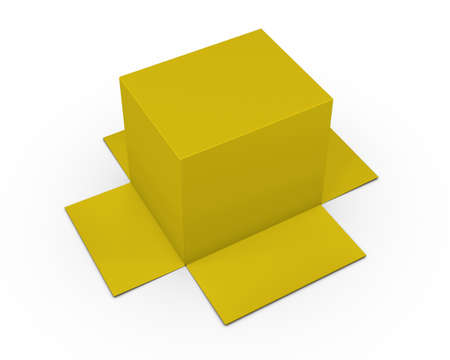 lading: Opened yellow cardboard package box upside down, isolated, white background 3d rendering