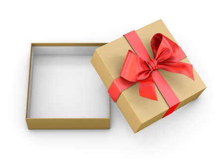 Open red brown gift box ribbon top view white background for Christmas and New Years Day 3d rendering