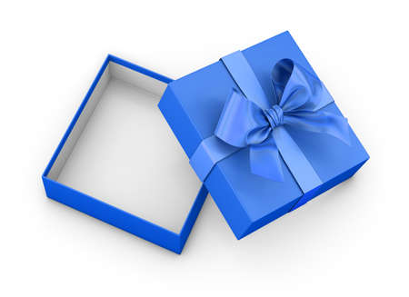 Open blue gift box ribbon top view white background for Christmas and New Years Day 3d rendering