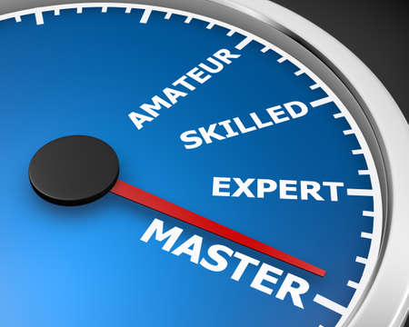 speedmeter: Experience levels speedmeter with needle on master level. 3d rendering