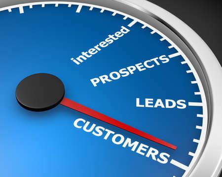prospection: Illustration of internet marketing customers meter 3d rendering