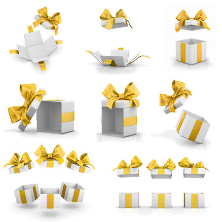 new years day: open yellow gift boxes set for Merry Christmas, New Years Day  3d rendering Stock Photo
