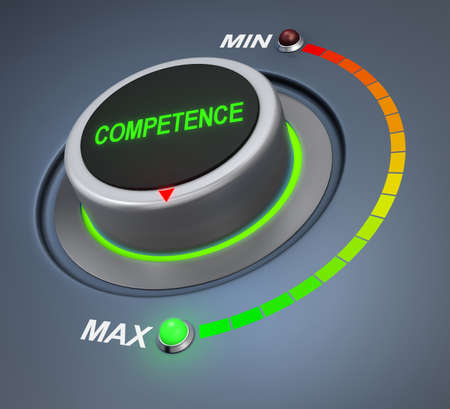 competence: competence button position 3d rendering Stock Photo