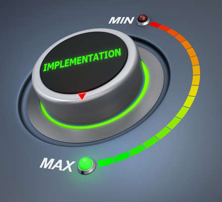 implementation button position 3d rendering Stock Photo