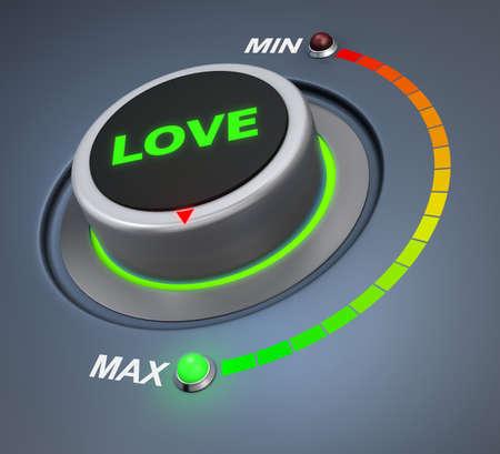 position d amour: love button position. 3d rendering