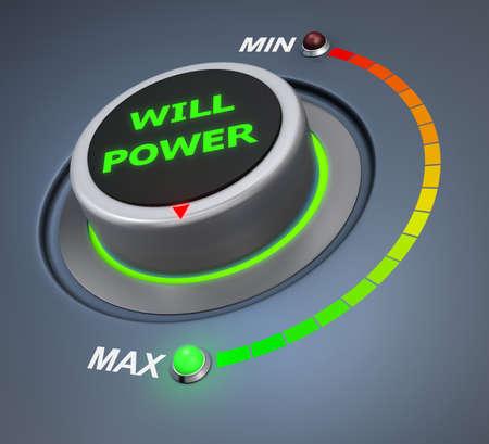 surpass: will power button position 3d rendering Stock Photo