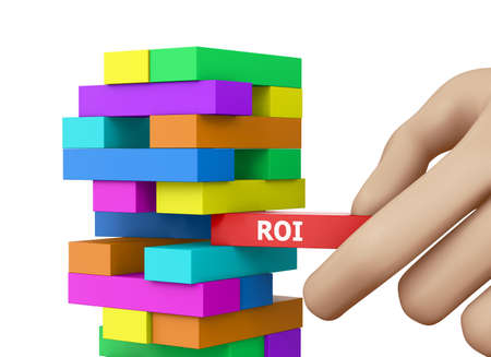 ROI CONCEPT wood blocks 3d rendering