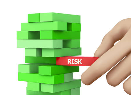 risk and strategy in business, businessman gambling placing wooden block on a tower 3d rendering