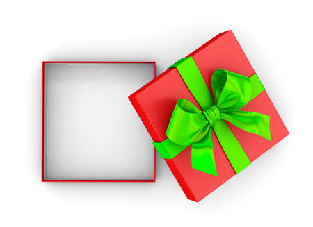 Christmas and New Years Day ,Open red green gift box top view white background 3d rendering