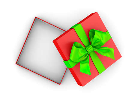 new years day: Christmas and New Years Day ,Open red green gift box top view white background 3d rendering