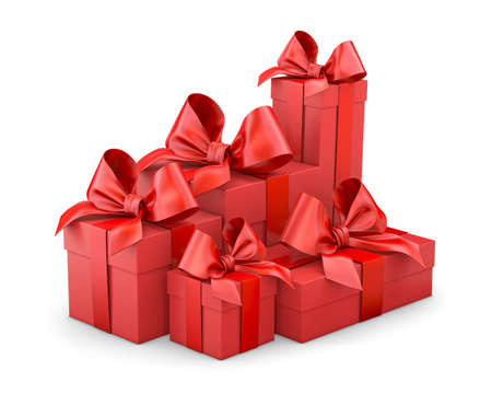 Christmas and New Years Day , group pile red gift boxes ribbon white background 3d rendering