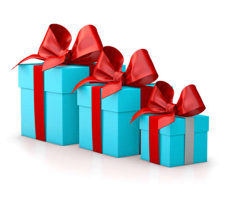 new years day: Christmas and New Years Day , group three blue sky red gift boxes white background 3d rendering