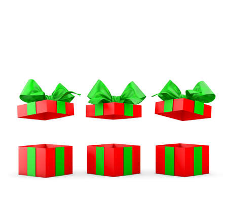 new day: set of open gift box isolated for Christmas and New Years Day 3d rendering