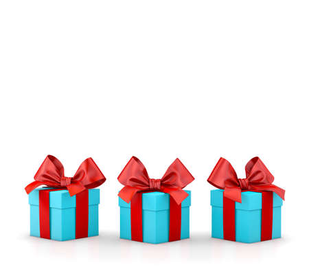 Christmas and New Years Day , group three blue sky red gift boxes white background 3d rendering