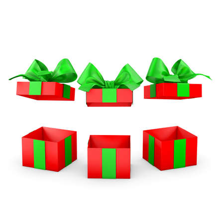set of open gift box isolated for Christmas and New Years Day 3d rendering