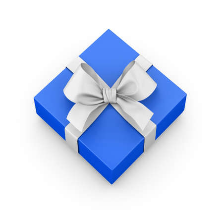 blue gift box ribbon top view white background for Christmas and New Years Day 3d rendering