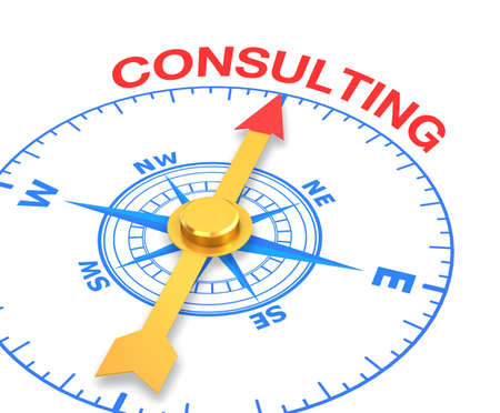compass with the needle pointing the word consulting, 3d rendering