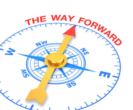 compass with the needle pointing the word the way forward. 3d rendering Stock Photo