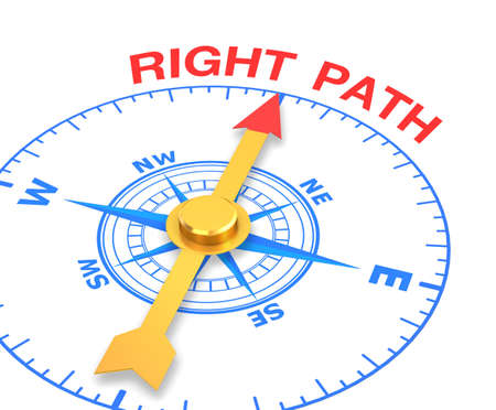 compass with the needle pointing the word right path. 3d rendering Stock Photo