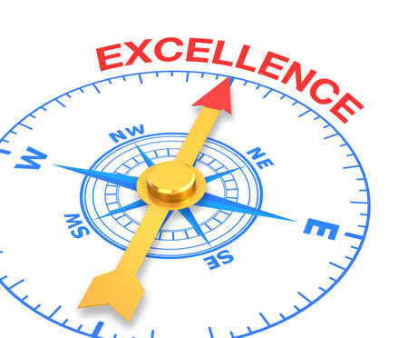 compass with the needle pointing the word excellence. 3d rendering Stock Photo