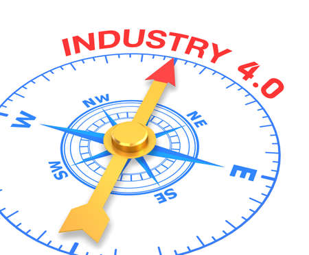 compass with the needle pointing the word industry 4.0, 3d rendering Stock Photo