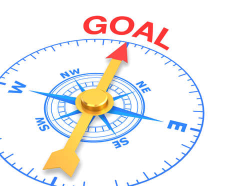 compass with the needle pointing the word goal. 3d rendering Stock Photo