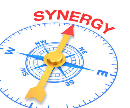 combined effort: compass with the needle pointing the word synergy. 3d rendering Stock Photo