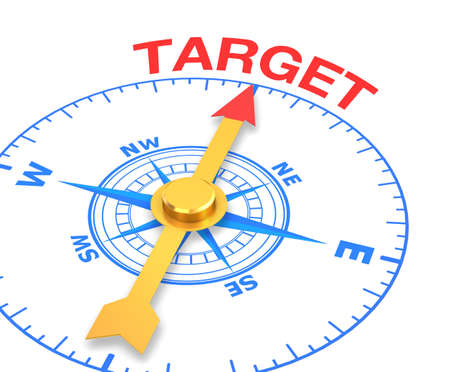 compass with the needle pointing the word target, 3d rendering