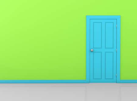 green wall with blue sky door 3d rendering