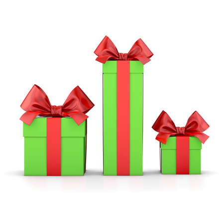 Christmas and New Years Day , group three red green white gift boxes ribbon white background 3d rendering