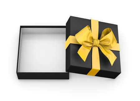 new years day: open yellow black gift box ribbon top view white background for Christmas and New Years Day 3d rendering Stock Photo