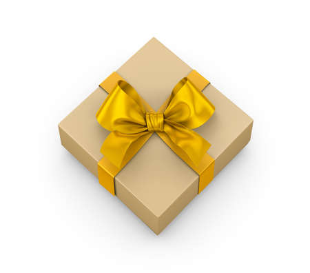yellow gift box ribbon top view white background for Christmas and New Years Day 3d rendering