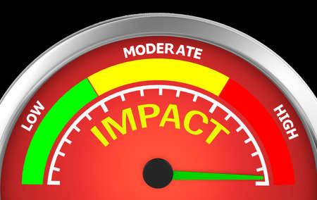 impacto en la más alta posición del medidor, la representación 3d Foto de archivo
