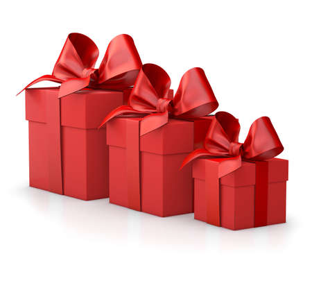 Christmas and New Years Day , group three red gift boxes ribbon white background 3d rendering
