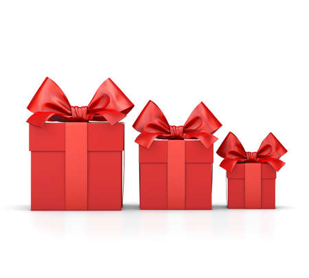 new years day: Christmas and New Years Day , group three red gift boxes ribbon white background 3d rendering